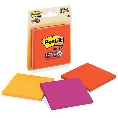 Post-it Super Sticky Neon 76x76mm 3321-SSAN Pack 3 (FS)