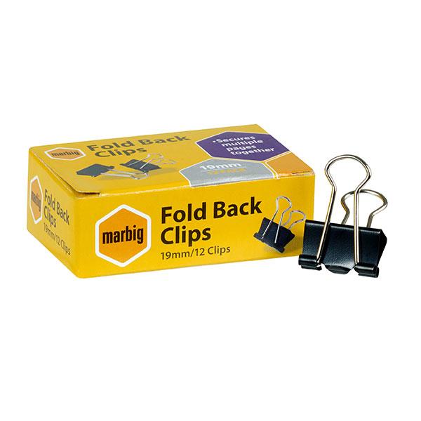 Foldback Clips 19mm Box 12 (FS)