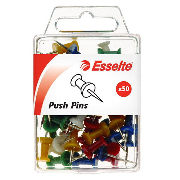 Push Pin Esselte Assorted Pkt50