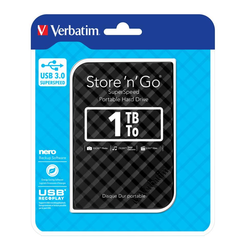 Hard Drive Portable Verbatim Store N Go 1TB Black (FS)
