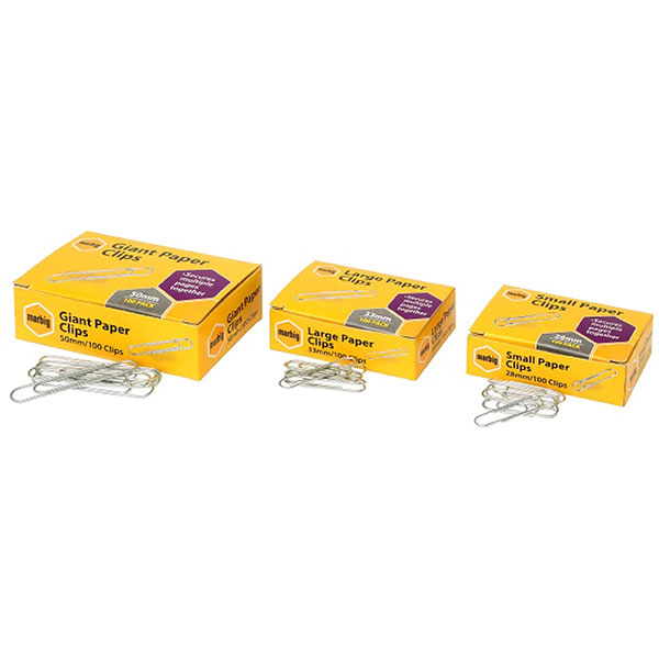 Marbig Paper Clips Small 28mm Box100