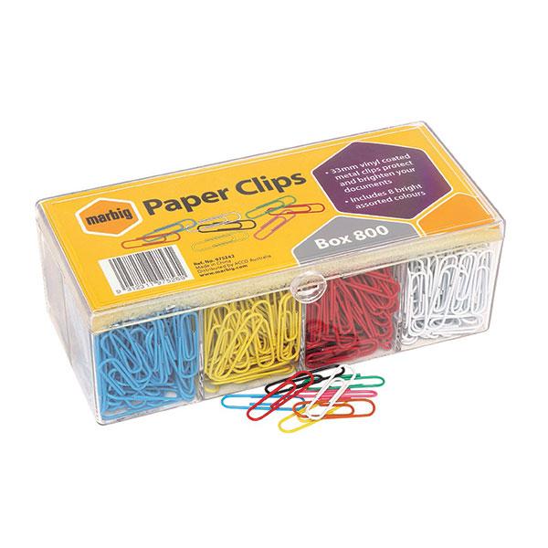 Paper Clips Vinyl Marbig 33mm Assorted Colours Bx800 (FS)