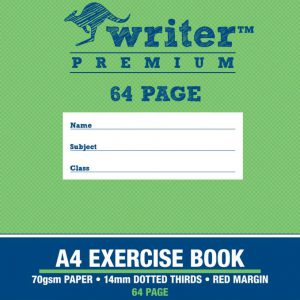 Exercise Book Writer Premium A4 64 Page 14mm Dotted Thirds - Lion (FS)