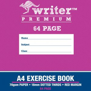 Exercise Book Writer Premium A4 64 Page 18mm Dotted Thirds (FS)