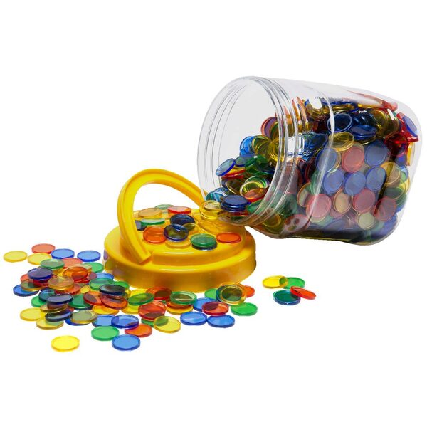 Counters Small 20mm Plastic Transparent 4 Colour Jar 1000