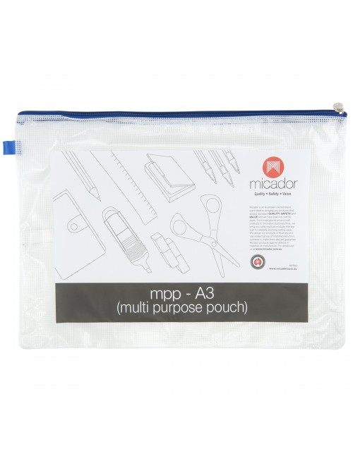 Handy Pouch Multipurpose A3 Blue Zip