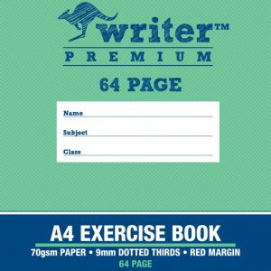 Exercise Book Writer Premium A4 48 Page 24mm Dotted Thirds - Plane (FS)
