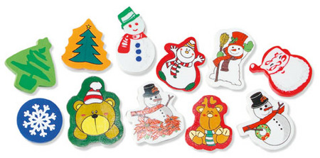 Christmas Fun Erasers Pack 100