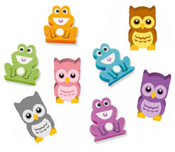 Owls And Frogs Erasers Pack 20