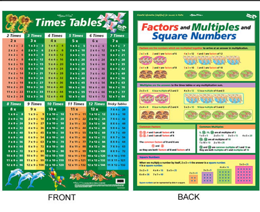 Times Tables Chart Green (double sided)